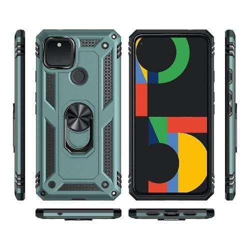 SaharaCase - Military Kickstand Series Case - Google Pixel 5 - Green - Sahara Case LLC