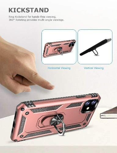 "SaharaCase Military Kickstand Series Case iPhone 11 6.1""- Rose Gold - Sahara Case LLC"