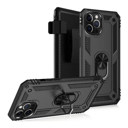 Black Heavy-Duty iPhone 12 (12 Pro) Case - Military Kickstand Series Case