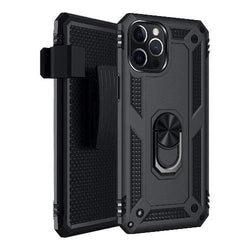 Black Heavy-Duty iPhone 12 Pro Max Case - Military Kickstand Series Case