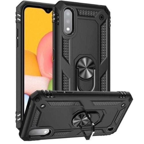 SaharaCase - Military Kickstand Series Case with Belt Clip - Samsung Galaxy A01 - Scorpion Black - Sahara Case LLC