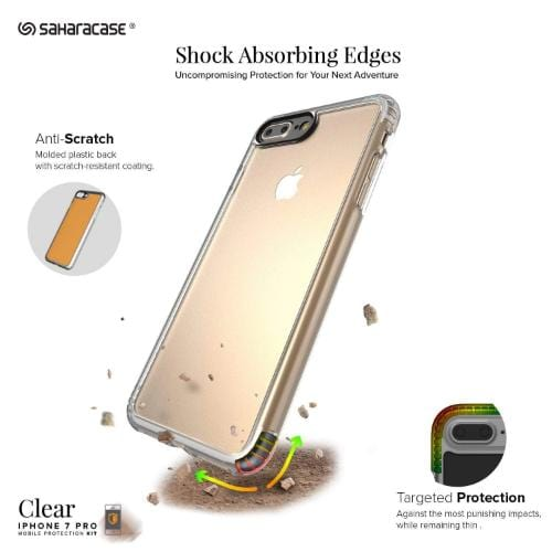 SaharaCase Crystal Case & Glass Screen Protection Kit - iPhone 8/7 Plus Clear - Sahara Case LLC
