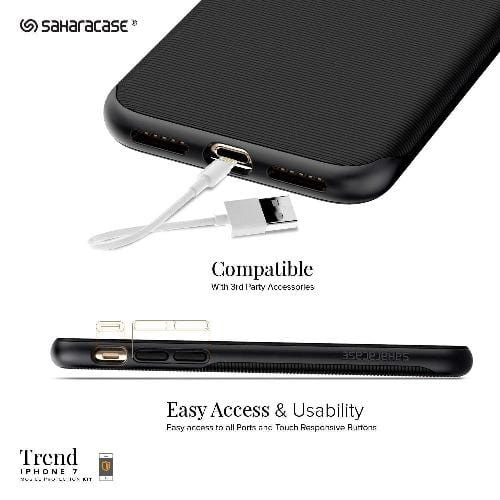 SAHARACASE Protection Kit Trend Case & Glass Screen Protection Kit - iPhone 8/7 Scorpion Black