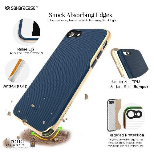 Trend Case & Glass Screen Protection Kit - iPhone 8/7 Night Sky Navy Gold - Sahara Case LLC