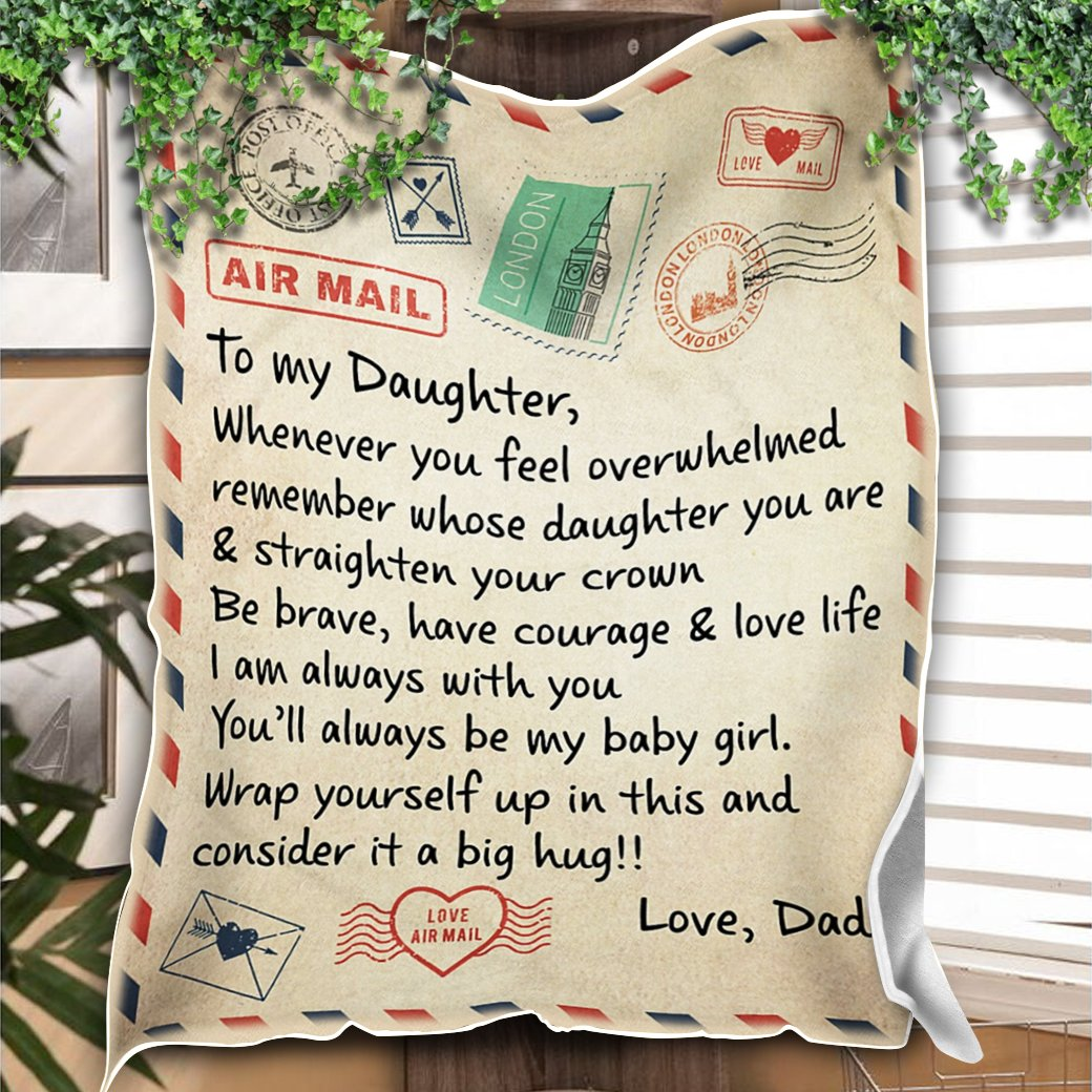 Custom Blanket Personalized Name Letter Dad To My Daughter 2 Blanket - Gift For Daughter