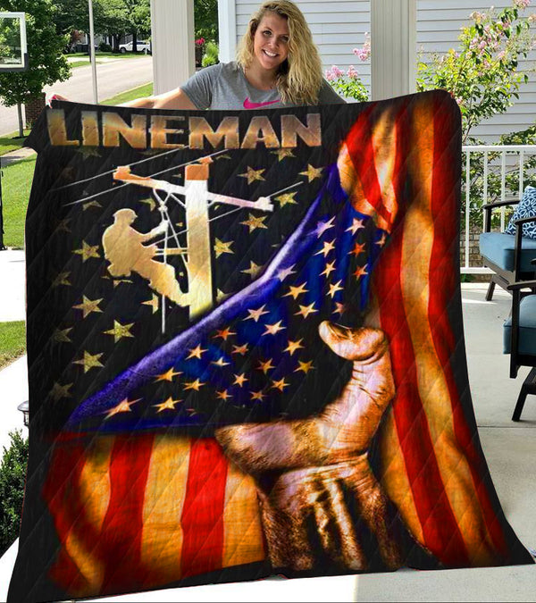 Custom Blanket LINEMAN Blanket - Perfect Gift For Dad - Fleece Blanket