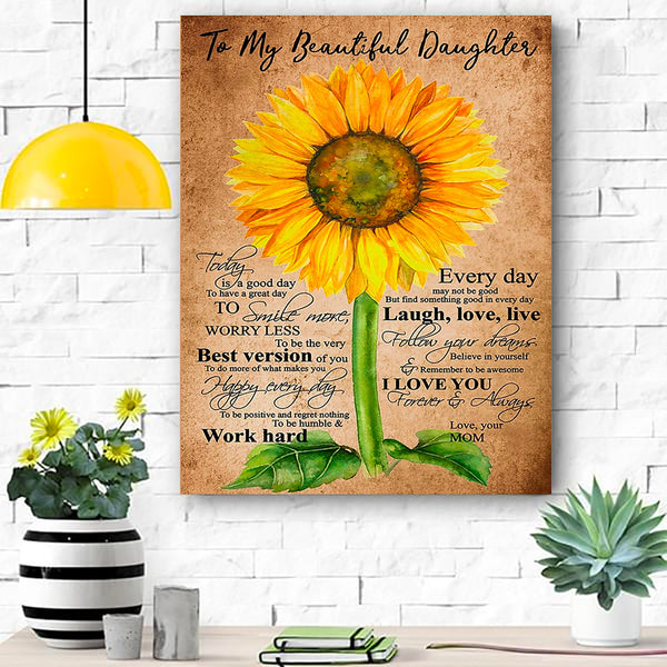 Sunflower To My Beautiful Daughter Canvas Prints Wall Art - Matte Canvas