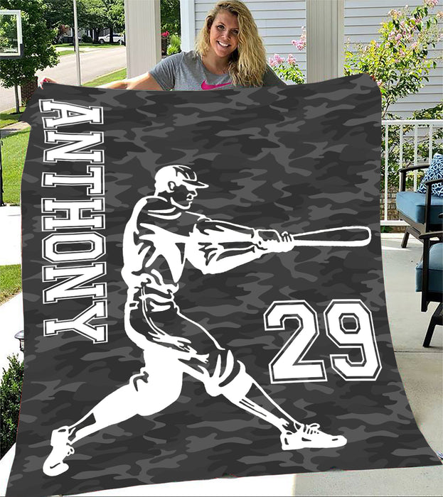 Custom Blankets Baseball Personalized Name & Number Blanket - Fleece Blanket