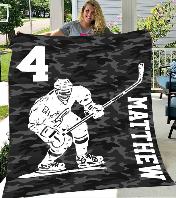 Custom Blankets Hockey Personalized Name Blanket - Fleece Blanket