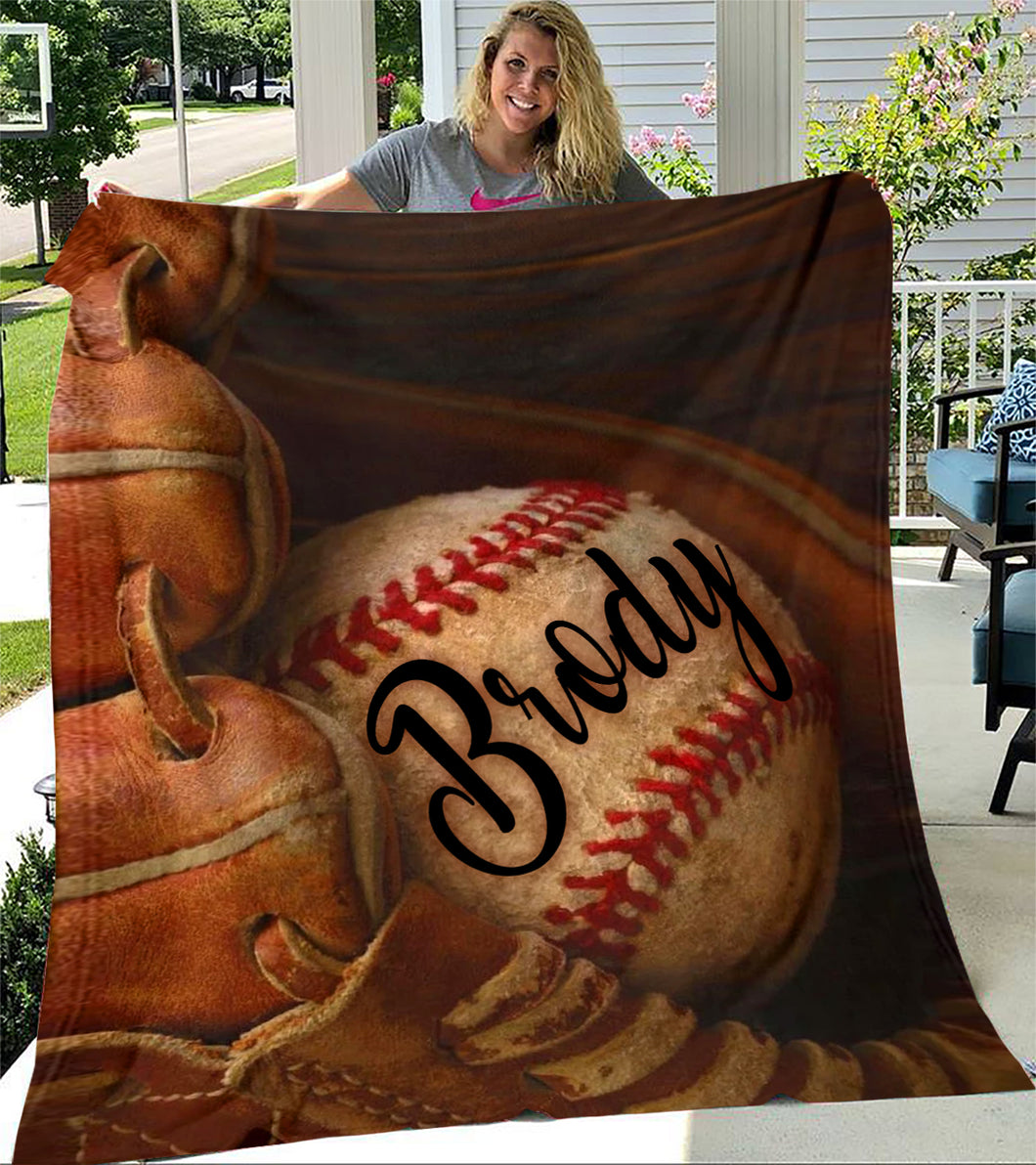 Custom Blankets Baseball Glove Personalized Name Blanket - Fleece Blanket
