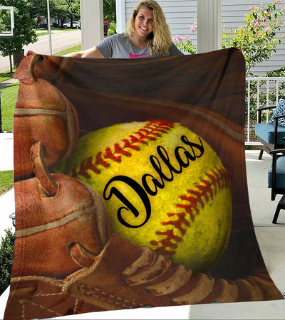 Custom Blankets Softball Personalized Name Blanket - Fleece Blanket