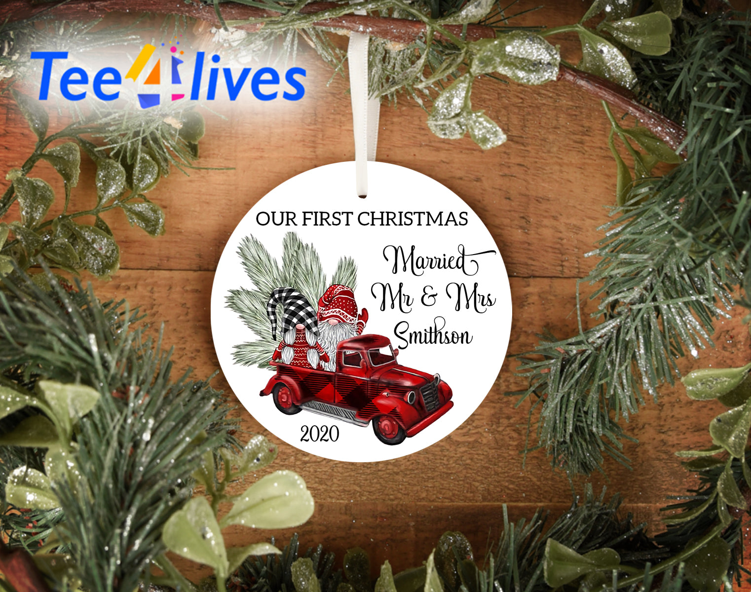Custom Christmas Tree Ornament Gnome First Christmas Married Mr And Mrs Personalized Ornaments
