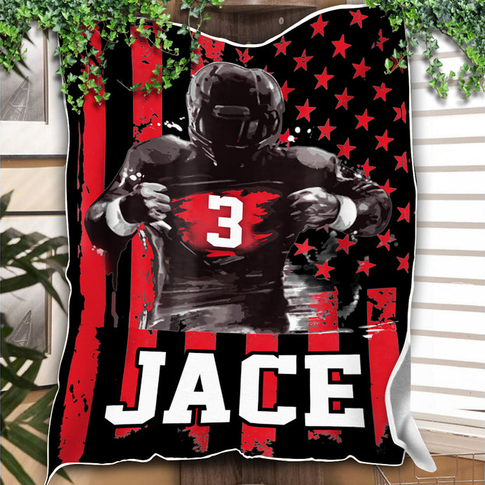 Custom Blankets FOOTBALL Personalized Name & Number Blanket - Fleece Blanket