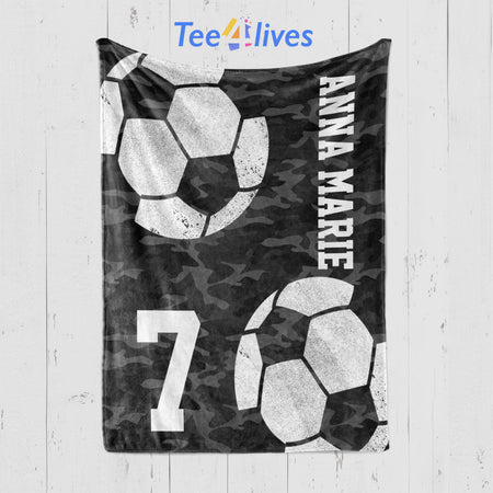 Custom Blankets Soccer Personalized Name Blanket - Fleece Blanket
