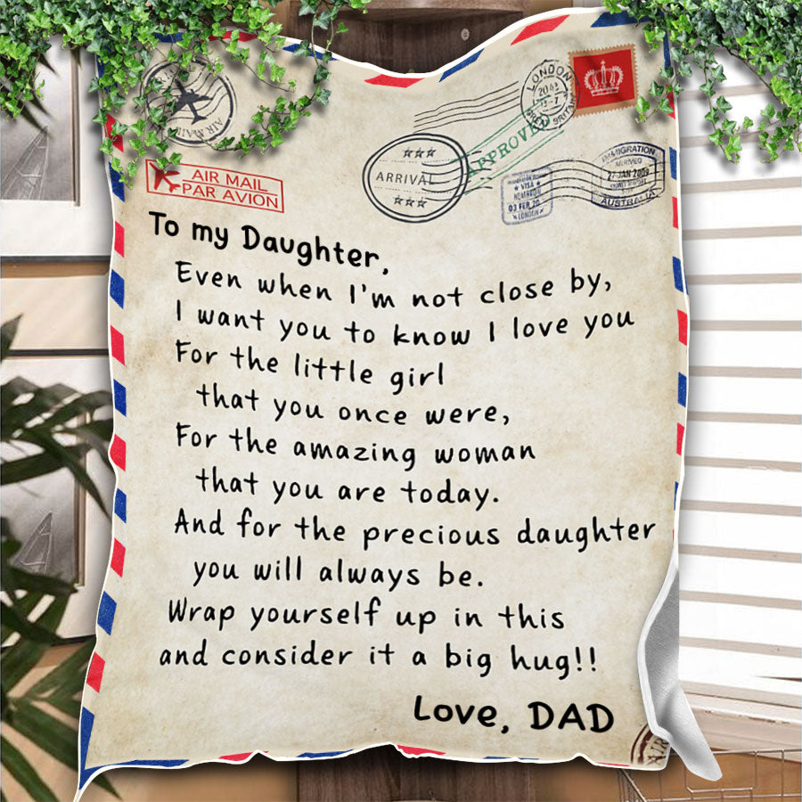 Custom Blanket Personalized Name Letter Dad To My Daughter Blanket - Gift For Daughter