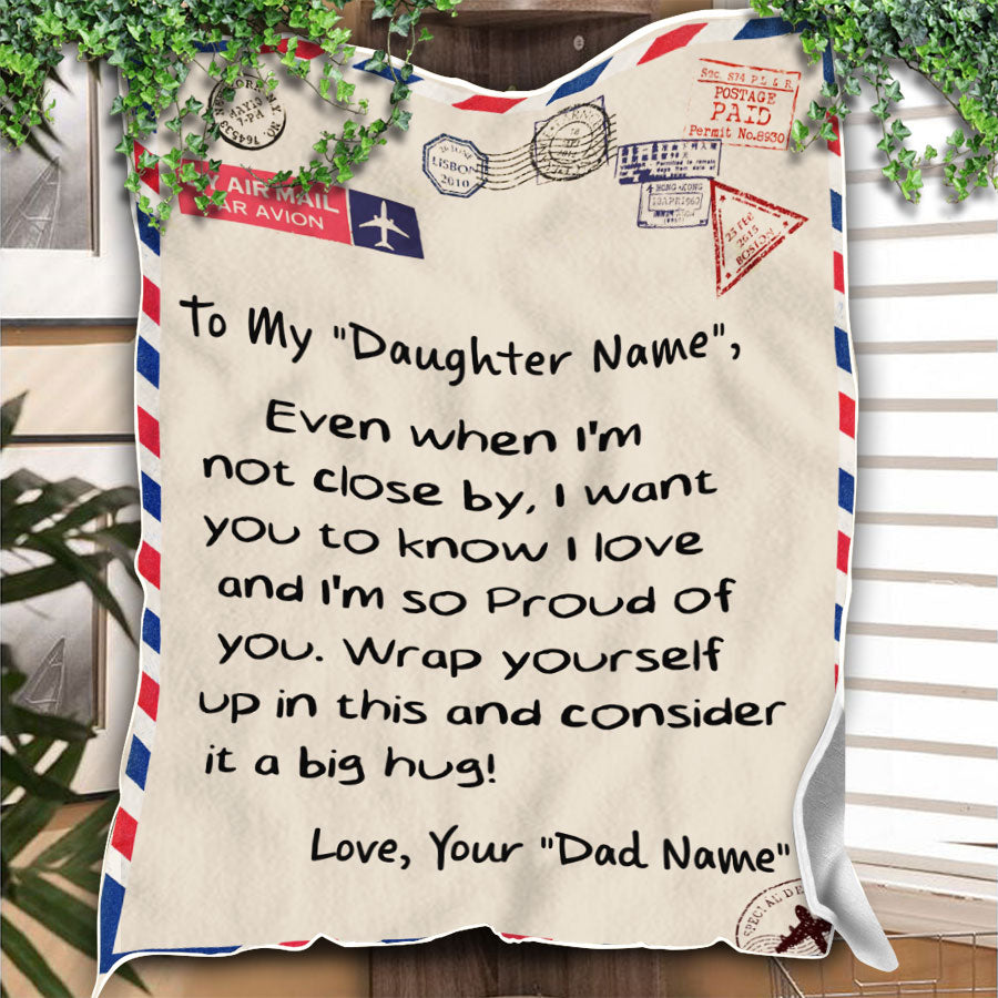 Custom Blanket Letter Personalized Name Dad To My Daughter Blanket - Gift For Daughter