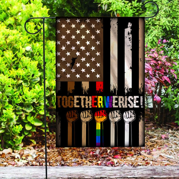 Custom Flag Together We Rise Black Lives Matter Flag - Garden Flag
