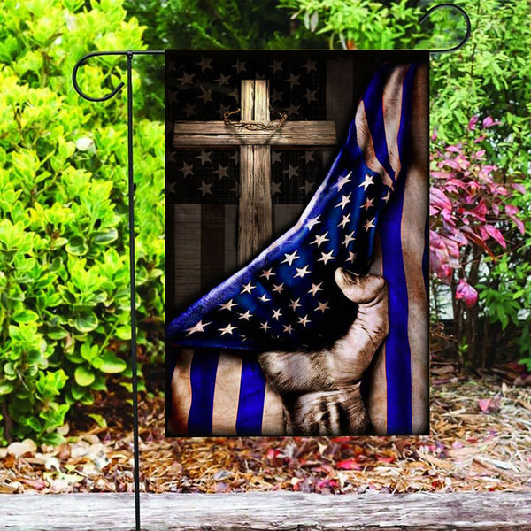 Custom Flag The Thin Blue Line Christian Cross Flag - Garden Flag