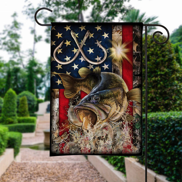 Custom Flag Bass Fishing American Flag - Garden Flag