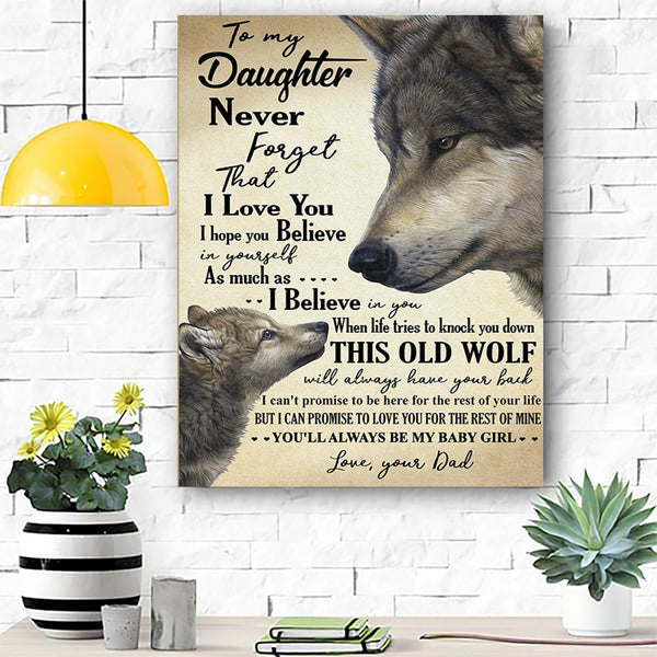 Wolf Canvas Prints Wall Art - To My Daughter - Matte Canvas