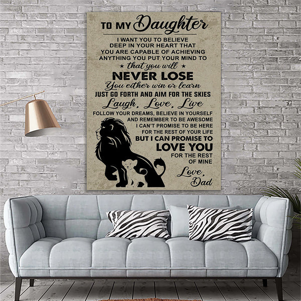 Lion Canvas Prints Wall Art - Perfect Gift For Daughter - Matte Canvas