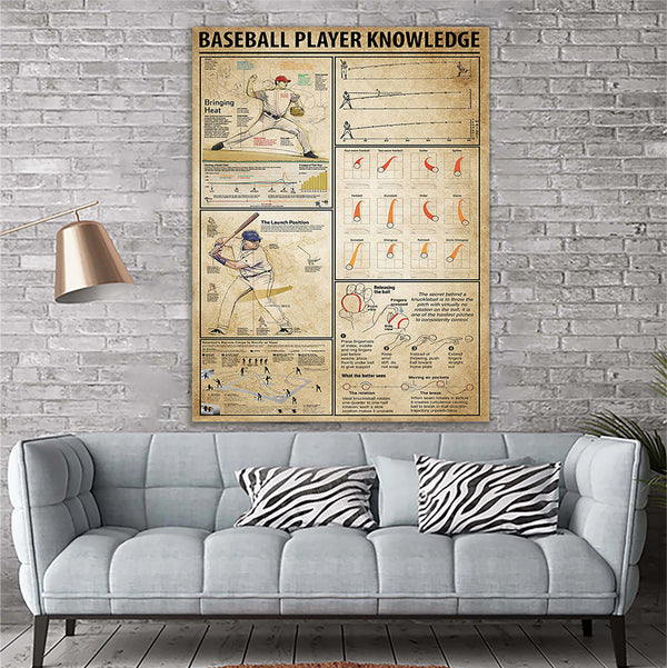 Custom Printing Baseball Player Knowledge Canvas Print Wall Art - Matte Canvas