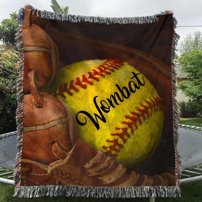 Custom Woven Blankets Softball Personalized Name Woven Throw Blanket - 60x80