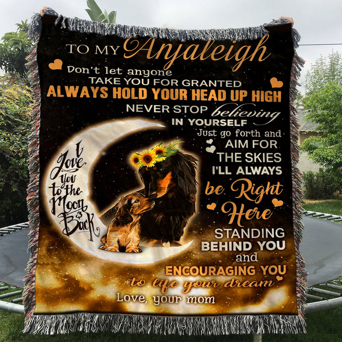 Custom Woven Blanket Dachshund Personalized Name Woven Blanket - 60x80