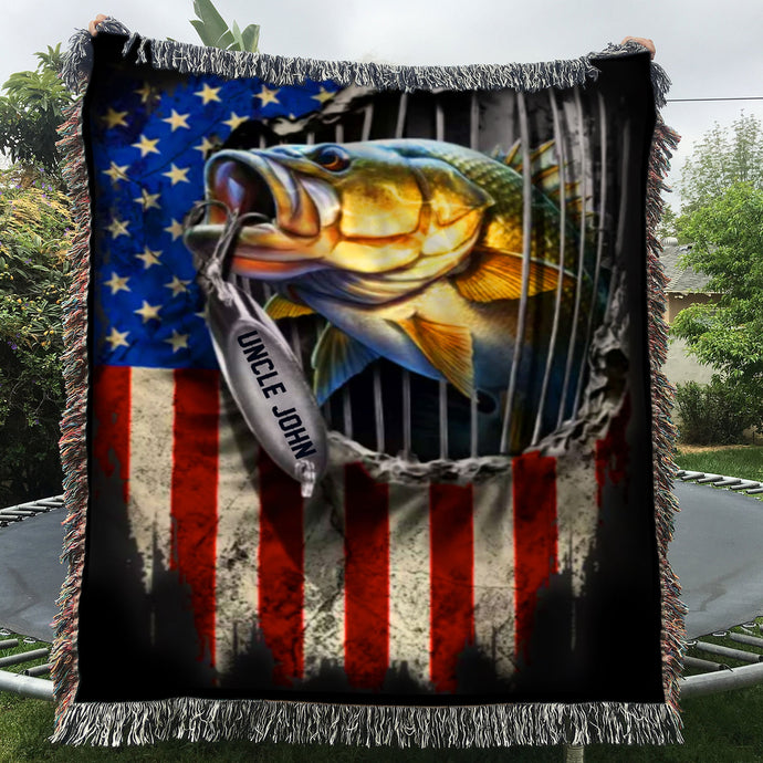 Personalized Fishing Gifts - Fishing Custom Name Woven Throw Blankets - 60x80
