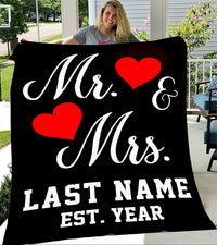 Custom Blankets Mr And Mrs Personalized Blanket With Name And Wedding Year - Fleece Blanket