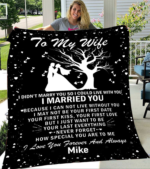 Custom Blankets Personalized Name Blanket - Perfect gift for Wife - Fleece Blanket