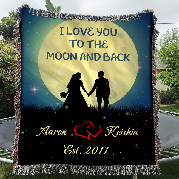 Custom Woven Blankets Mr And Mrs Personalized Woven Throw Blanket With Name And Wedding Year - 60x80