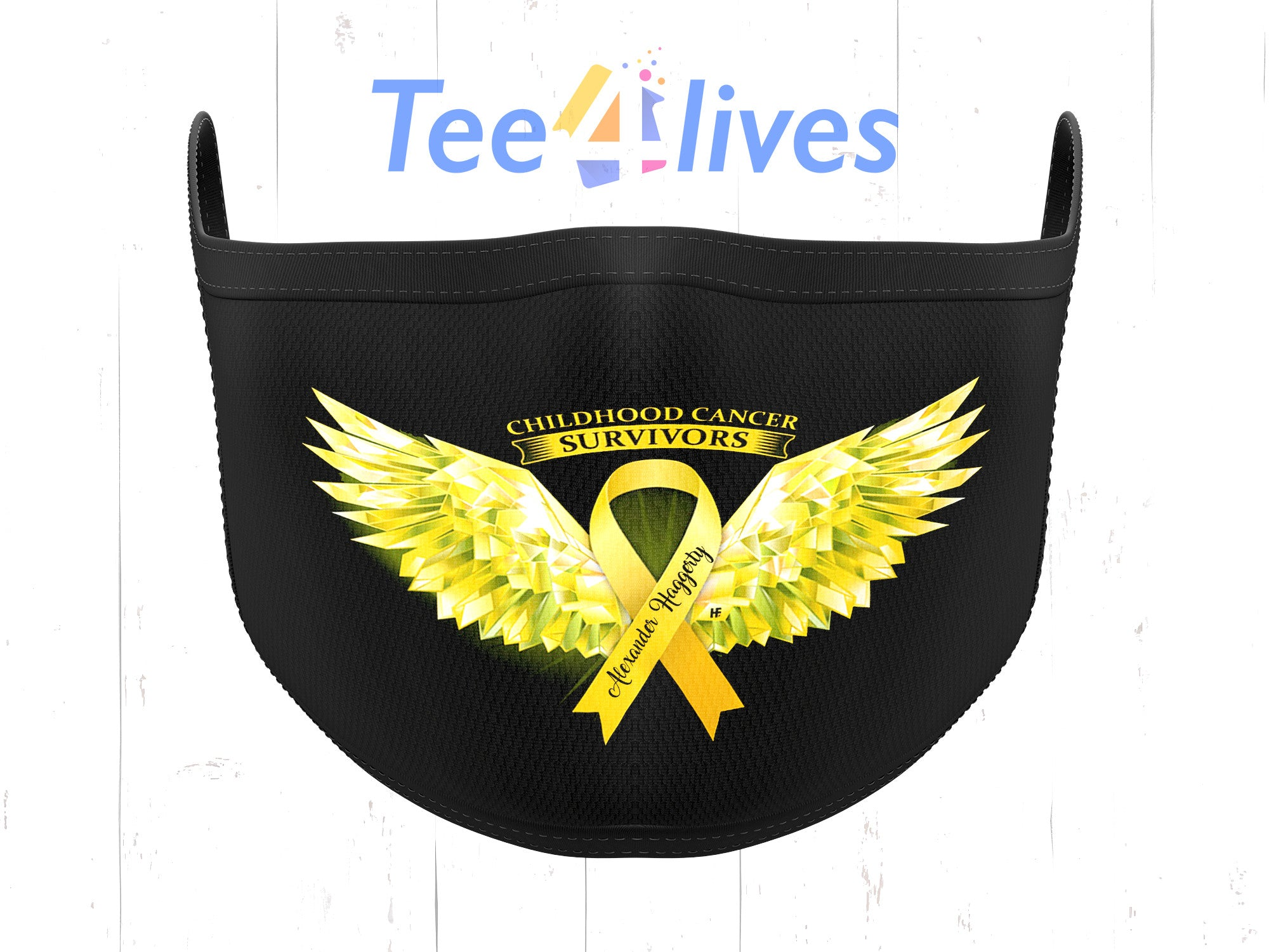 Custom Cloth Mask Personalized Name Childhood Cancer Awareness Wings