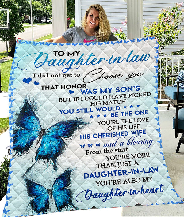 Custom Blanket To My Daughter-in-law Blanket - Gift For Daughter - Quilt Blanket