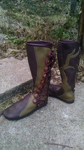 Chocolate & Sage Tree boot 9 button