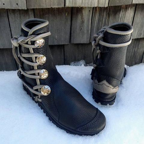 Black & Gray Mountain boots 4 button