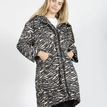SASS - Madison Long Puffer Jacket - Black, Zebra and Black with Purple Spots
