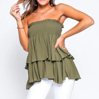 Khaki Ruffle Skirt that can also be worn as a strapless Top!