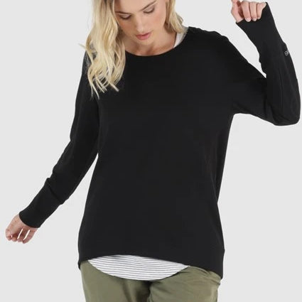 BETTY BASICS- Dolly Sweat Top in Black