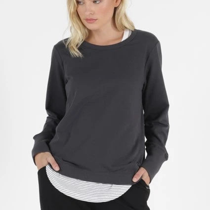 BETTY BASICS - Dolly Sweat Top in Gun Metal Grey