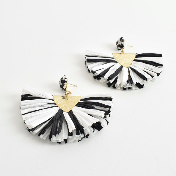 Black and White Raffia Layered Fringe Earrings