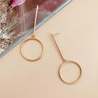 Adorne Metal Gold Bar Drop Earrings - sammi