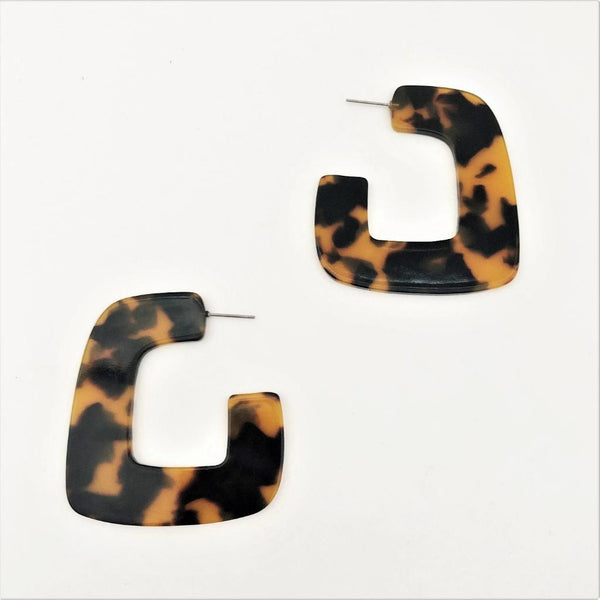 Tortoise Shell Resin Geo Earrings - sammi
