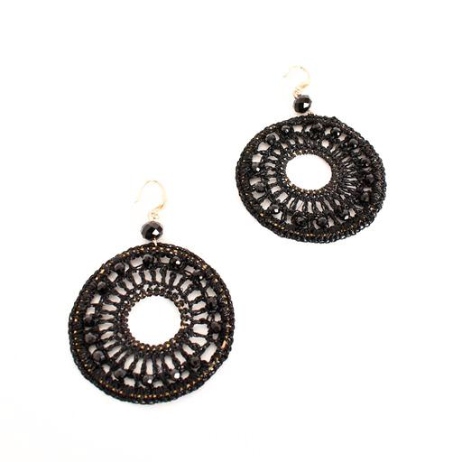 Black Beaded Hook Earrings Dreamcatcher style - sammi