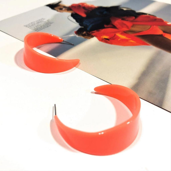 Orange Resin Hoop earrings