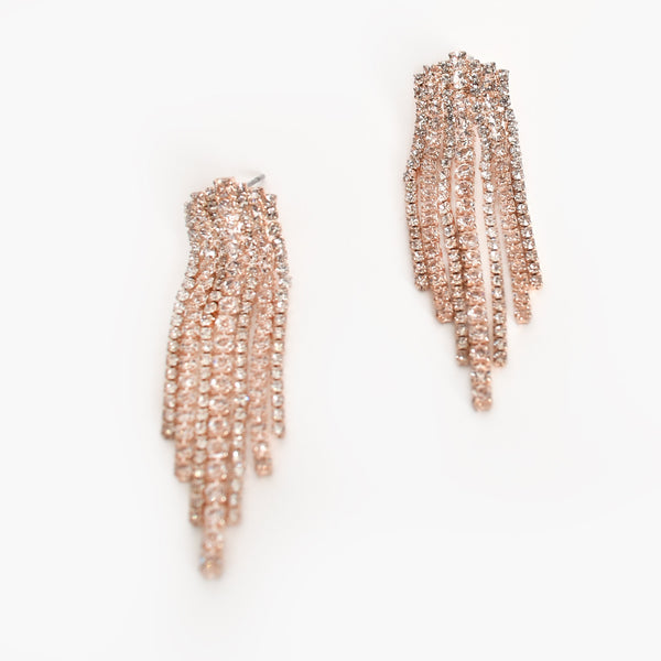 Elegant Dripping Diamantes Earrings Rose/Silver - sammi