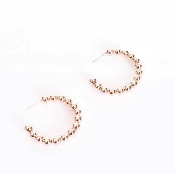 Mini Ball Hoop Earrings in Rose Gold