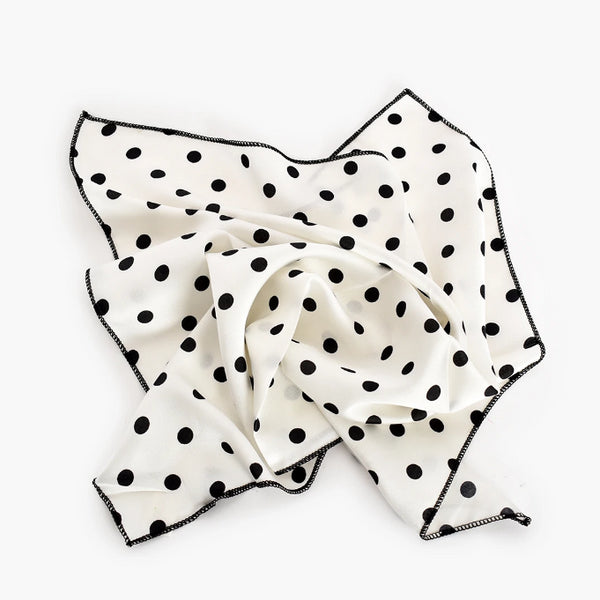 Scarf - White with Black Spots Necktie.