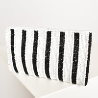 Handcrafted Stripe Beaded Pouch bag purse in Black and White - sammi