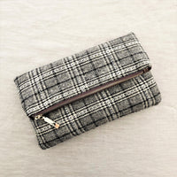 Tweed Bag Flap over Clutch in Chocolate and White and Black and White - sammi